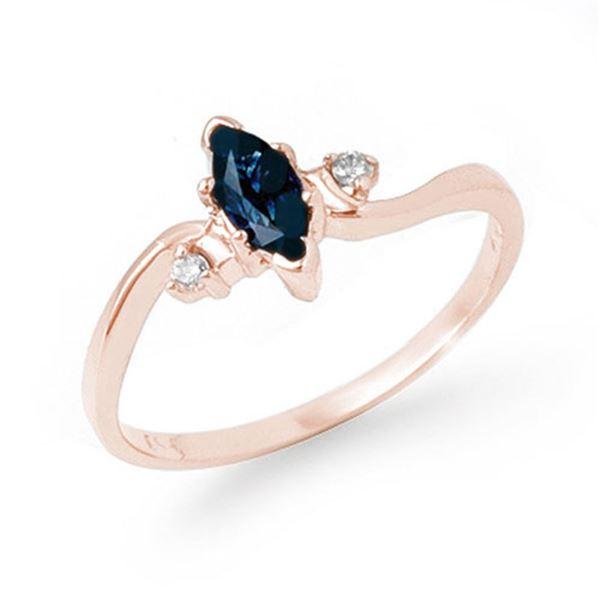 0.42 ctw Blue Sapphire & Diamond Ring 14k Rose Gold - REF-13R8K