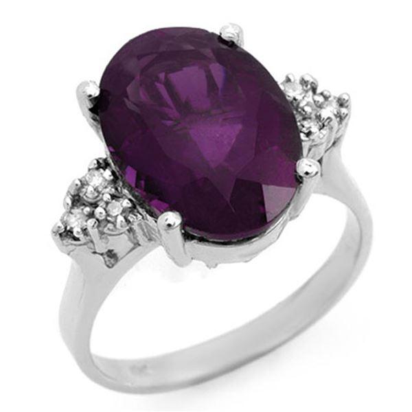 5.15 ctw Amethyst & Diamond Ring 18k White Gold - REF-45H4R