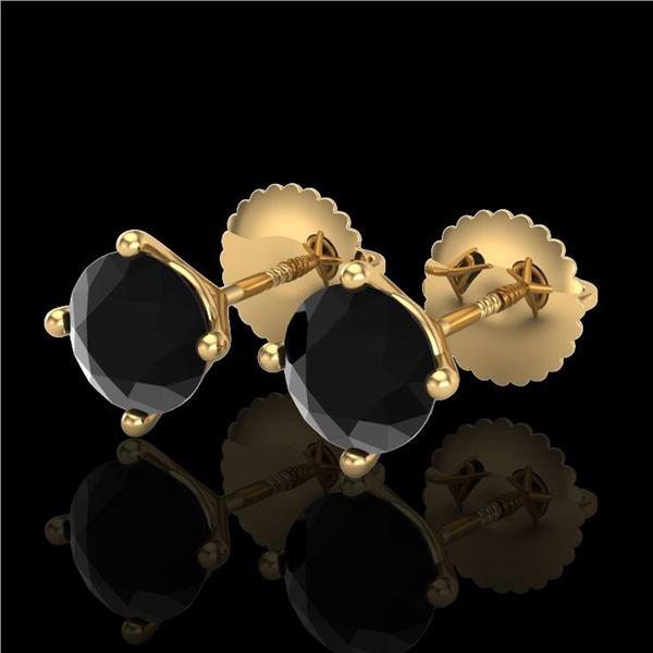 1.5 ctw Fancy Black Diamond Art Deco Stud Earrings 18k Yellow Gold - REF-33A8N