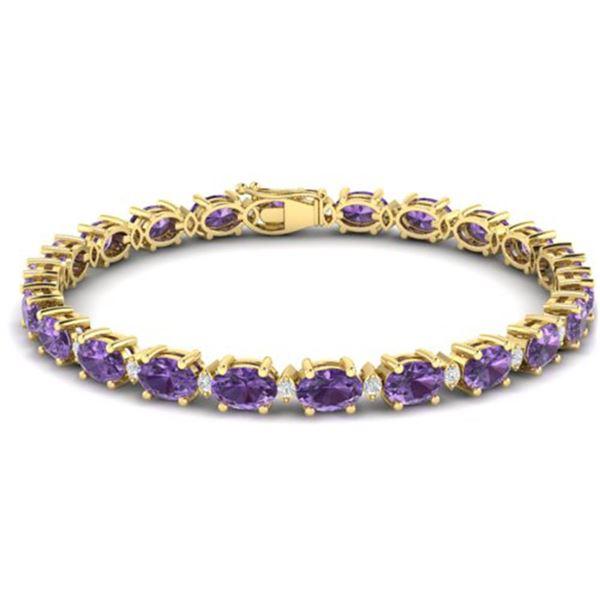 19.7 ctw Amethyst & VS/SI Diamond Eternity Bracelet 10k Yellow Gold - REF-104X2A