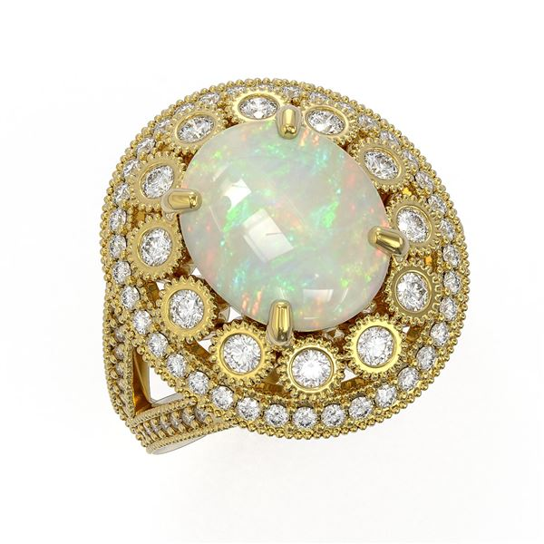 5.28 ctw Certified Opal & Diamond Victorian Ring 14K Yellow Gold - REF-191R3K