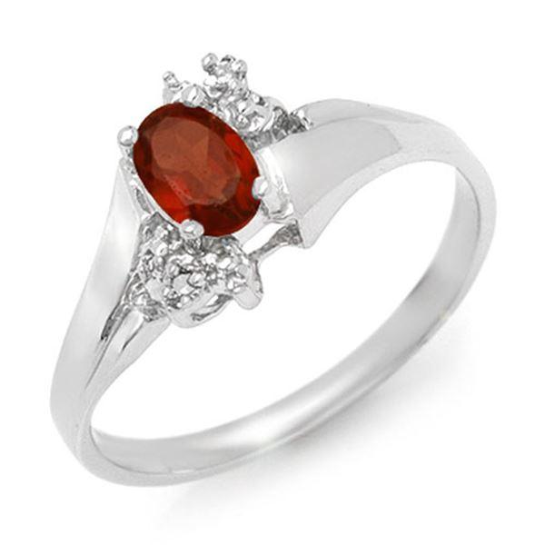 0.52 ctw Garnet & Diamond Ring 18k White Gold - REF-23G2W