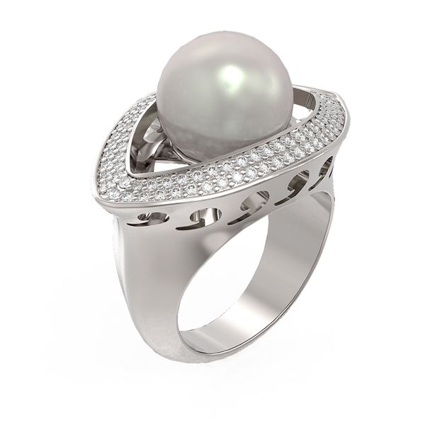1 ctw Diamond & Pearl Ring 18K White Gold - REF-169K3Y