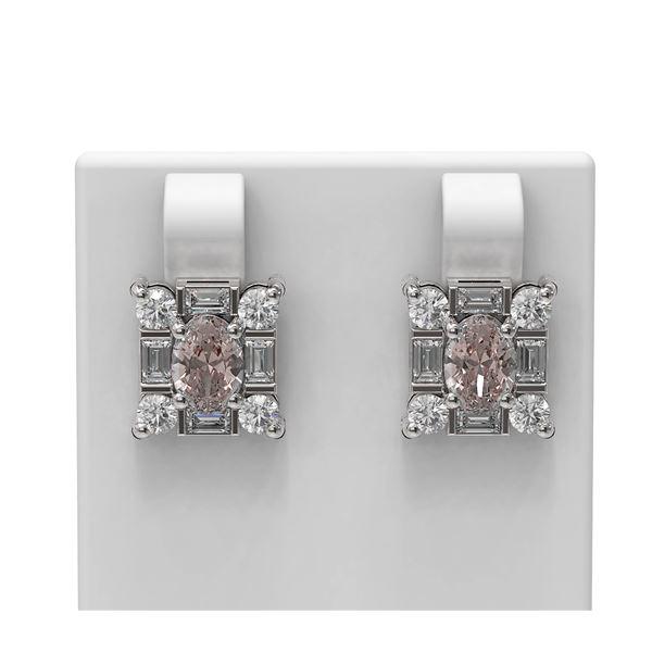 3.5 ctw Morganite & Diamond Earrings 18K White Gold - REF-178X2A