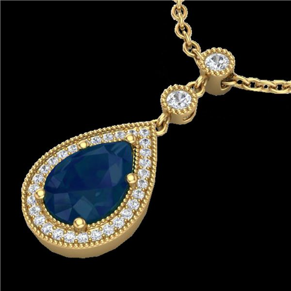 2.75 ctw Sapphire & Micro Pave VS/SI Diamond Necklace 18k Yellow Gold - REF-44R4K