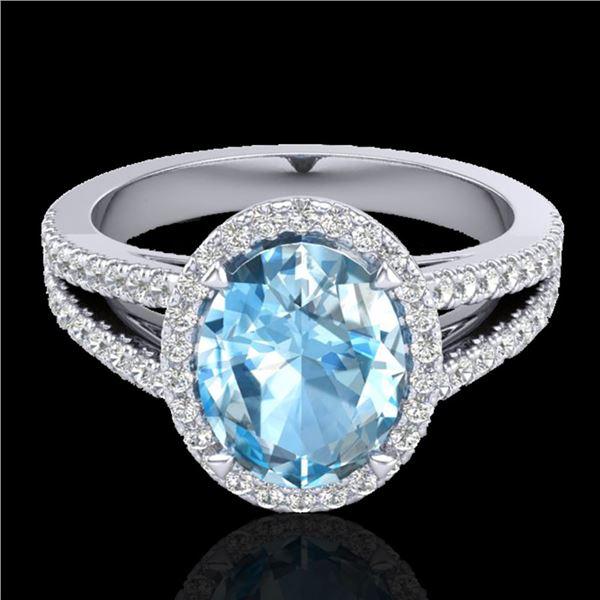 3 Sky Blue Topaz & Micro VS/SI Diamond Halo Ring 18k White Gold - REF-53H5R
