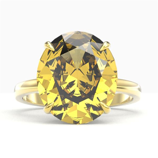 9 ctw Citrine Designer Solitaire Engagment Ring 18k Yellow Gold - REF-40N9F