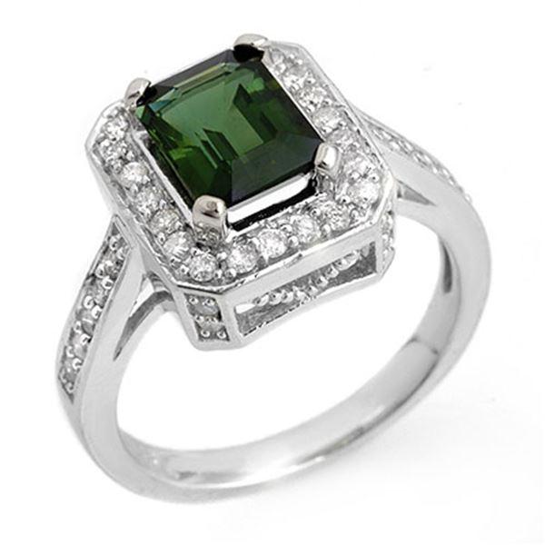 2.50 ctw Green Tourmaline & Diamond Ring 18k White Gold - REF-101N8F