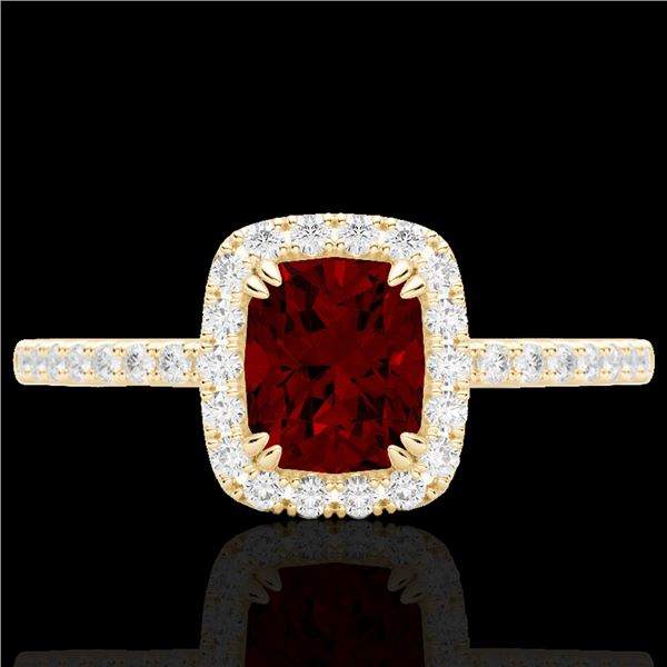 1.25 ctw Garnet & Micro Pave VS/SI Diamond Certified Ring 10k Yellow Gold - REF-24Y8X