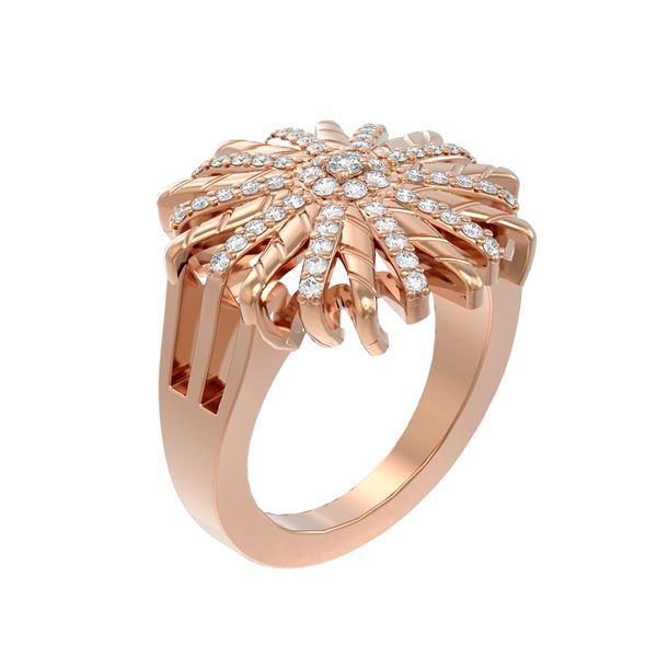 0.77 ctw Diamond Ring 18K Rose Gold - REF-140N5F