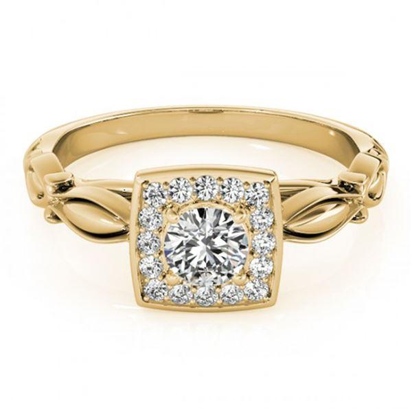 0.55 ctw Certified VS/SI Diamond Halo Ring 14k Yellow Gold - REF-52R3K