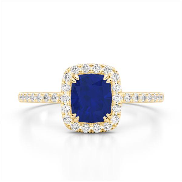 1.25 ctw Sapphire & Micro Pave VS/SI Diamond Ring 10k Yellow Gold - REF-30H8R