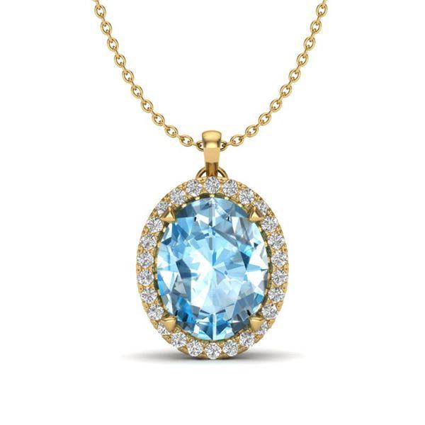 2.75 ctw Sky Blue Topaz & Micro VS/SI Diamond Necklace 18k Yellow Gold - REF-36W8H