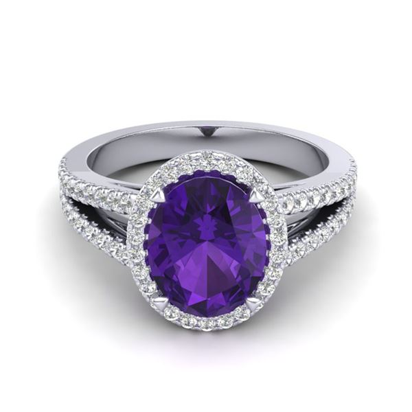 3 ctw Amethyst & Micro VS/SI Diamond Halo Ring 18k White Gold - REF-52W4H