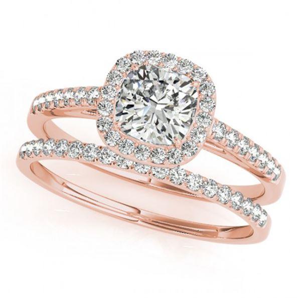 0.93 ctw Certified VS/SI Cushion Diamond 2pc Set Halo 14k Rose Gold - REF-106G5W