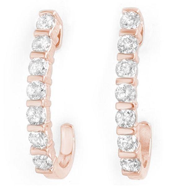 0.75 ctw Certified VS/SI Diamond Earrings 18k Rose Gold - REF-78K5Y