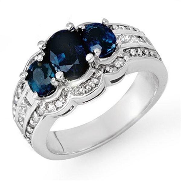 3.50 ctw Blue Sapphire & Diamond Ring 18k White Gold - REF-135M6G