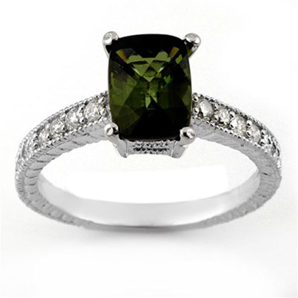 2.15 ctw Green Tourmaline & Diamond Ring 18k White Gold - REF-47Y9X