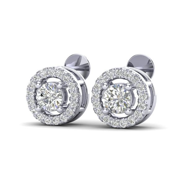 0.65 ctw Micro Pave VS/SI Diamond Certified Earrings Halo 18k White Gold - REF-40N9F
