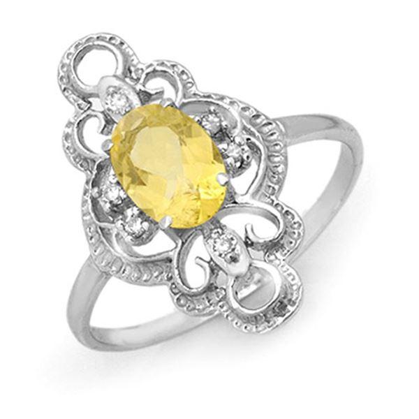 0.81 ctw Citrine & Diamond Ring 10k White Gold - REF-19G3W