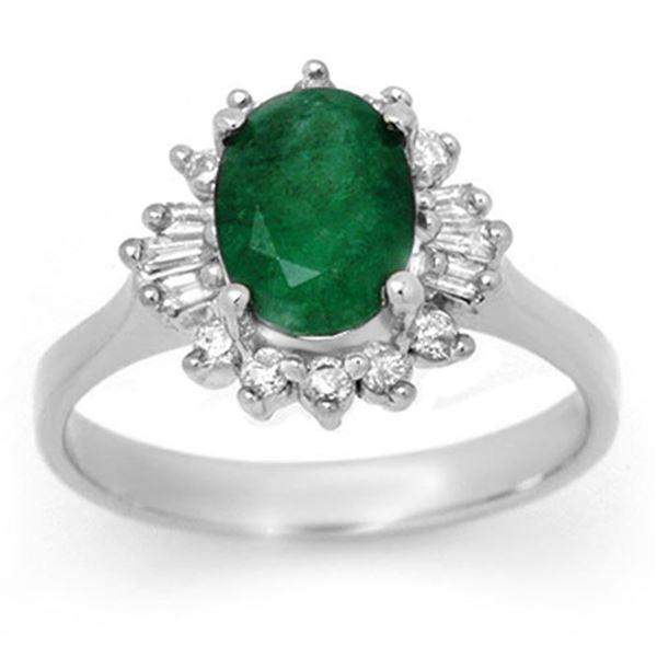 1.78 ctw Emerald & Diamond Ring 18k White Gold - REF-44Y4X
