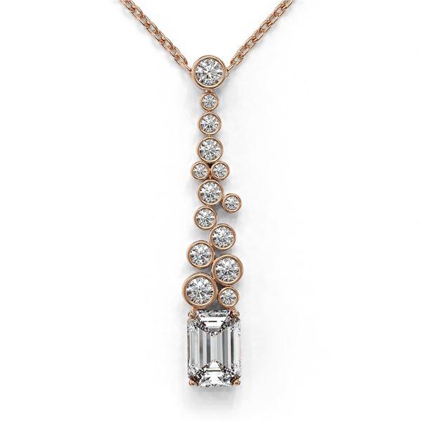 1.2 ctw Emerald Cut Diamond Designer Necklace 18K Rose Gold - REF-245M6G