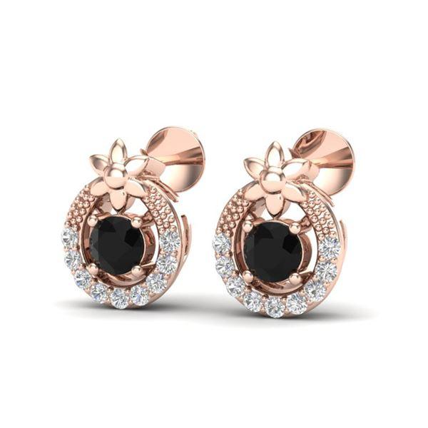 0.47 ctw Black & Micro Pave VS/SI Diamond Halo Earrings 14k Rose Gold - REF-18K8Y