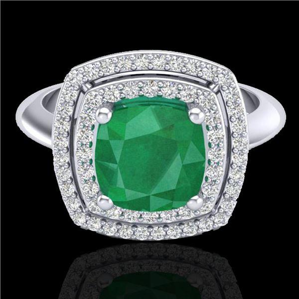 2.52 ctw Emerald & Micro VS/SI Diamond Pave Ring 18k White Gold - REF-55R2K
