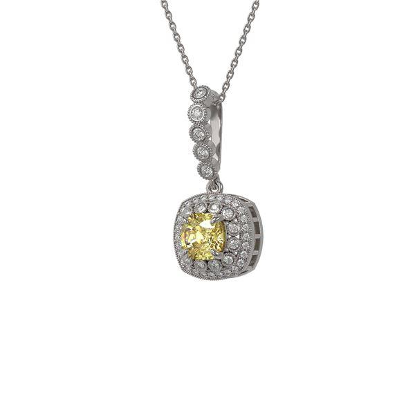 1.95 ctw Canary Citrine & Diamond Victorian Necklace 14K White Gold - REF-69X6A