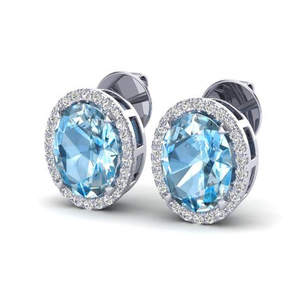 5.50 ctw Sky Blue Topaz & Micro VS/SI Diamond Earrings 18k White Gold - REF-49R2K