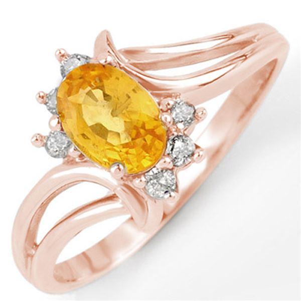 0.70 ctw Yellow Sapphire & Diamond Ring 14k Rose Gold - REF-18W8H