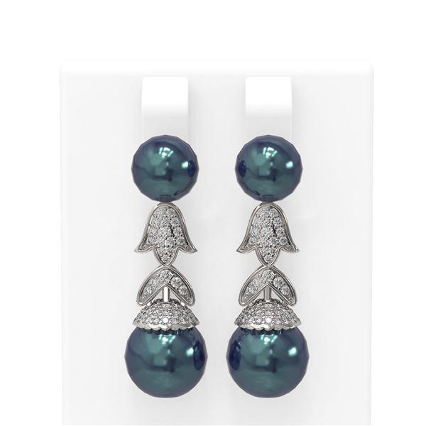 1.01 ctw Diamond & Pearl Earrings 18K White Gold - REF-154M2G