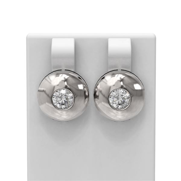 1.04 ctw Diamond Earrings 18K White Gold - REF-225X3A