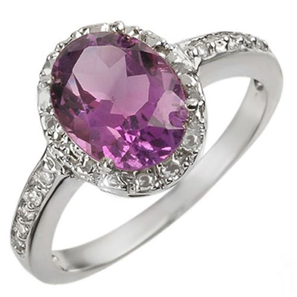 2.15 ctw Amethyst & Diamond Ring 14k White Gold - REF-22R9K