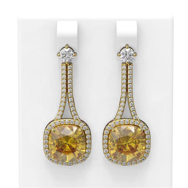 13.7 ctw Canary Citrine & Diamond Earrings 18K Yellow Gold - REF-228F8M