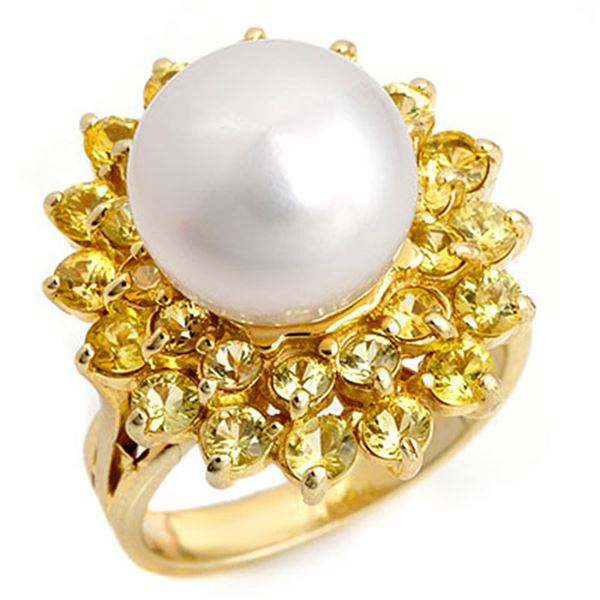 3.0 ctw Yellow Sapphire & Pearl Ring 10k Yellow Gold - REF-55F2M