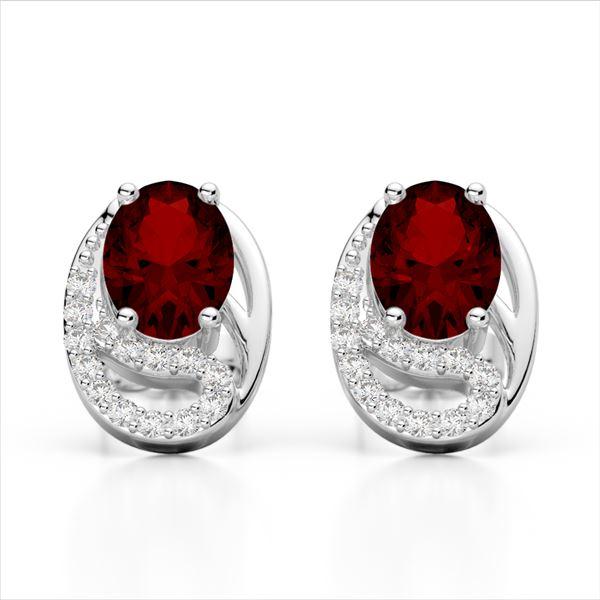 2.50 Garnet & Micro Pave VS/SI Diamond Stud Earrings 10k White Gold - REF-25G9W