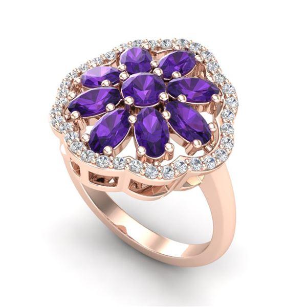 3 ctw Amethyst & VS/SI Diamond Cluster Designer Ring 10k Rose Gold - REF-49G3W
