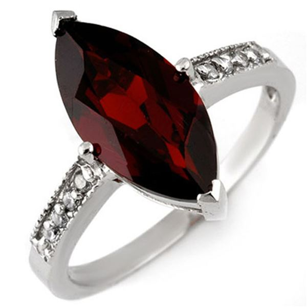 3.10 ctw Garnet & Diamond Ring 10k White Gold - REF-21N8F