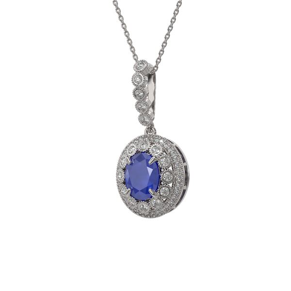 4.67 ctw Sapphire & Diamond Victorian Necklace 14K White Gold - REF-123M6G