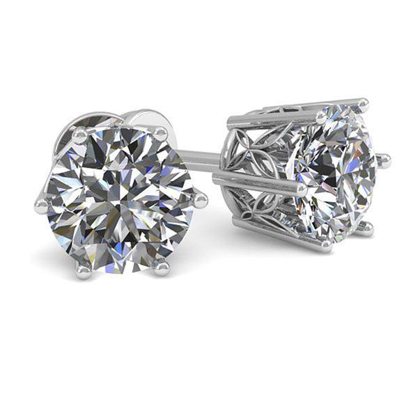 1.05 ctw Certified VS/SI Diamond Stud Earrings 18k White Gold - REF-147R2K