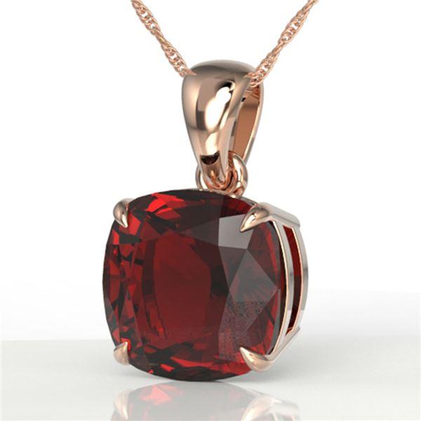 6 ctw Cushion Cut Garnet Designer Solitaire Necklace 14k Rose Gold - REF-24Y5X