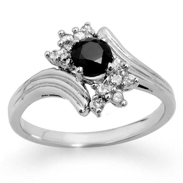 0.75 ctw VS Certified Black & White Diamond Ring 10k White Gold - REF-31K4Y