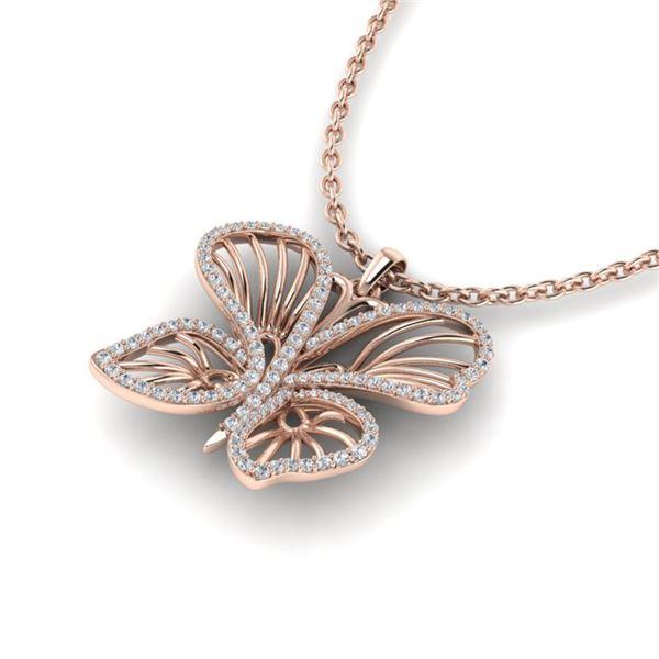 0.60 ctw Micro Pave Butterfly VS/SI Diamond Necklace 14k Rose Gold - REF-47R3K