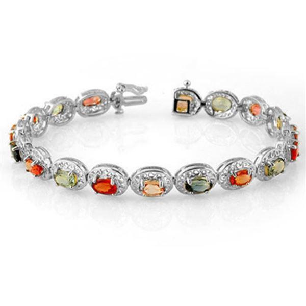 12.90 ctw Multi-color Sapphire Bracelet 18k White Gold - REF-154F2M