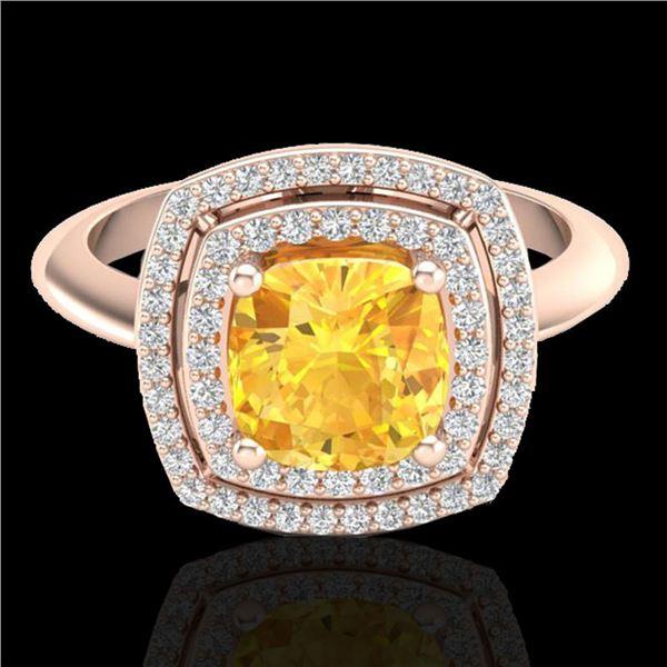 1.77 ctw Citrine & Micro VS/SI Diamond Pave Ring 14k Rose Gold - REF-42M3G