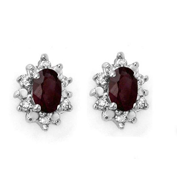 0.61 ctw Ruby & Diamond Earrings 10k Yellow Gold - REF-14H2R