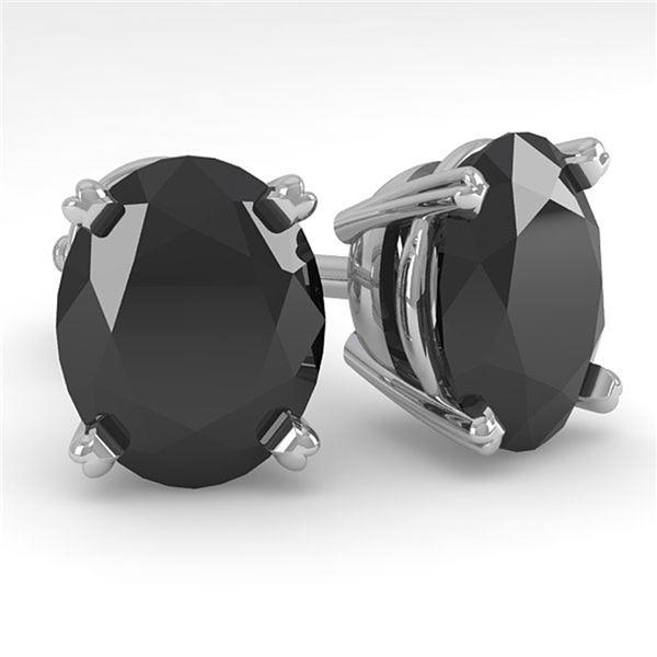 10 ctw Oval Black Diamond Stud Designer Earrings 14k White Gold - REF-178G4W