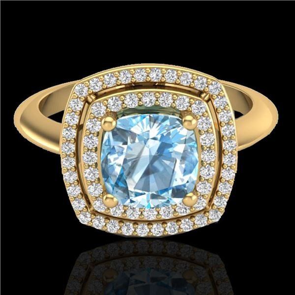 2.02 ctw Sky Blue Topaz & Micro VS/SI Diamond Ring 18k Yellow Gold - REF-49Y3X