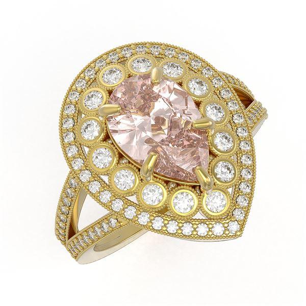 4.22 ctw Certified Morganite & Diamond Victorian Ring 14K Yellow Gold - REF-195K6Y